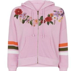 NWT Wildfox Pink Zip Up Jacket Floral